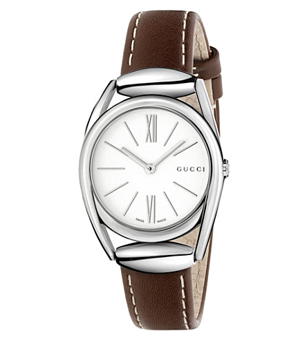 GUCCI Ya140502 Horsebit stainless steel watch (White