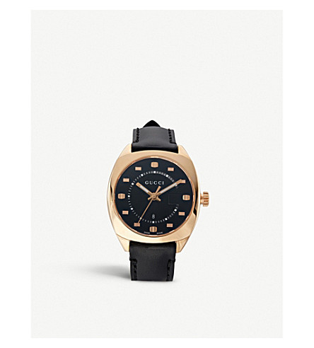 GUCCI YA142407 GG2570 pink gold and leather watch