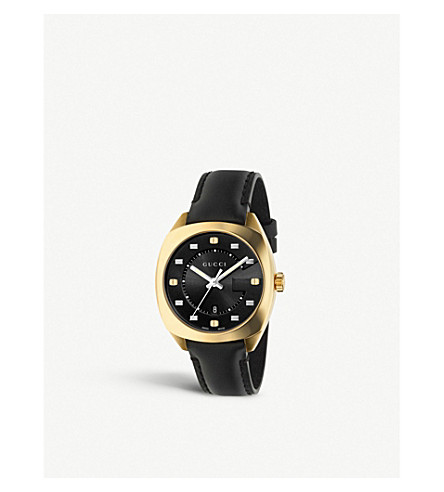 GUCCI YA142408 GG2570 yellow gold and leather watch