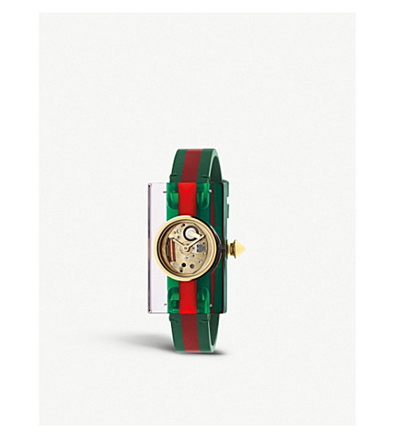 GUCCI YA143505 Plexiglass and yellow-gold watch