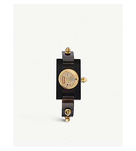 GUCCI YA143508 Plexiglass and yellow-gold watch