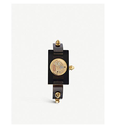 GUCCI YA143508 有机玻璃和金色手表
