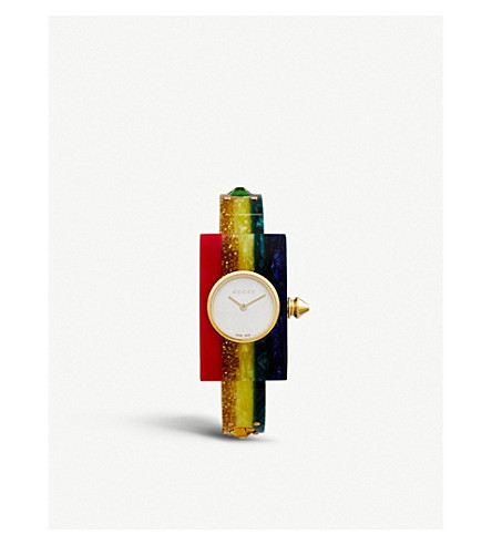 GUCCI YA143520 yellow-gold PVD and plexiglas watch