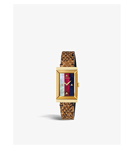GUCCI YA147402 G-Frame PVD gold-plated, mother-of-pearl and leather watch