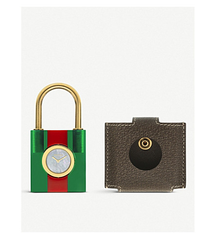 GUCCI YA150501 Padlock mother-of-pearl and leather quartz watch