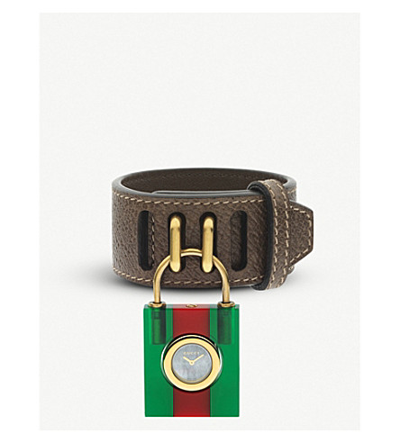 GUCCI YA150505 Padlock mother-of-pearl and leather strap quartz watch