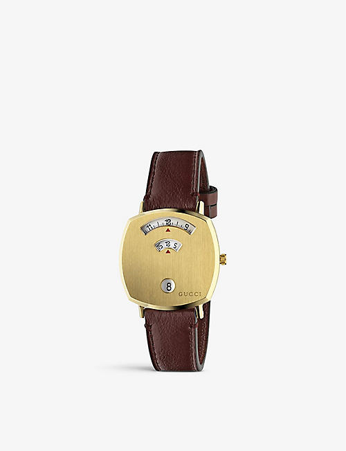 GUCCI YA157405 Grip yellow-gold PVD and leather watch
