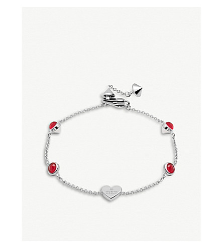 GUCCI Trademark rhodium silver heart bracelet