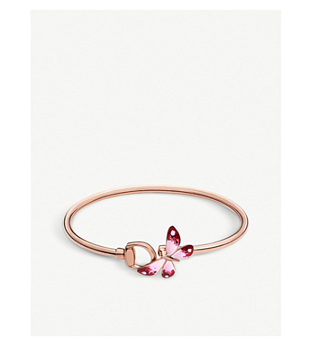 GUCCI Flora 18ct rose gold butterfly bracelet