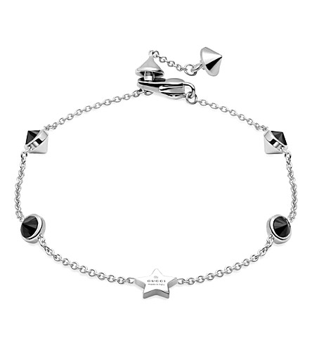 GUCCI Trademark rhodium silver star bracelet