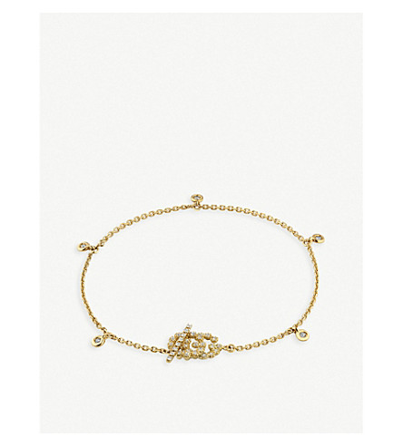 GUCCI Double G 18ct gold and diamond bracelet