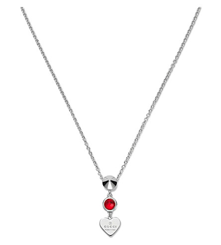GUCCI Trademark rhodium silver heart necklace