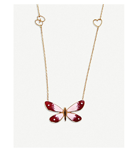 GUCCI Flora 18ct rose gold butterfly necklace