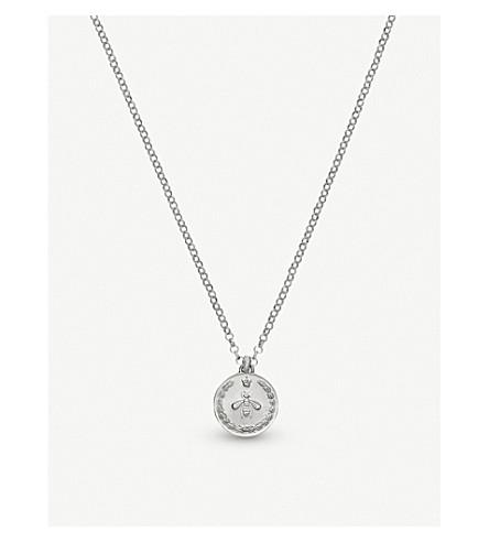 GUCCI Coin rhodium silver necklace