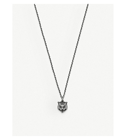 GUCCI Gatto sterling silver necklace