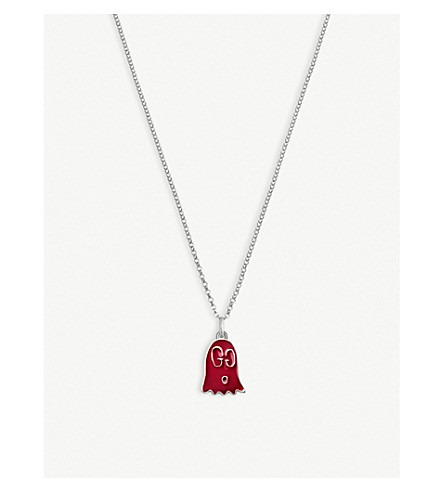 GUCCI Gucci Ghost sterling silver and enamel ghost necklace