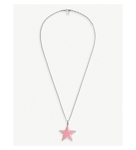 GUCCI GucciGhost star sterling silver and enamel necklace