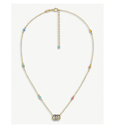 GUCCI Running G 18ct yellow-gold and multi-stone necklace