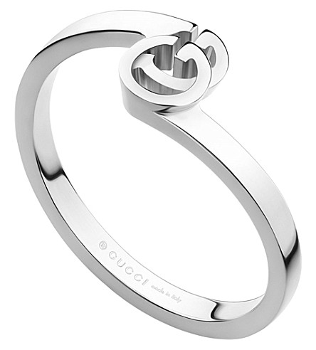 GUCCI GG 18ct white-gold ring