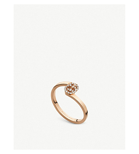 GUCCI GG 18ct rose-gold and diamond ring