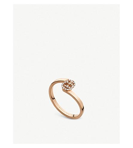 GUCCI GG 18ct 玫瑰色金子和金刚石圆环