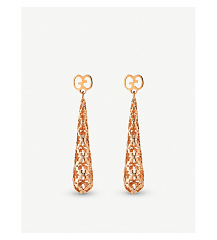 GUCCI Diamantissima 18ct rose gold earrings