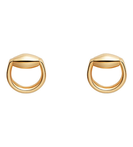 GUCCI Horsebit 18ct gold stud earrings