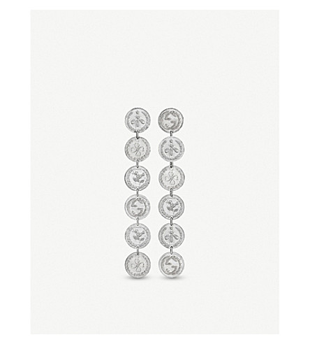 GUCCI Coin rhodium silver earrings