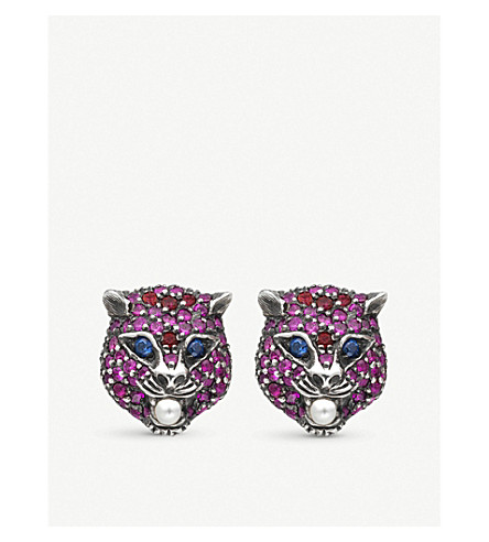 GUCCI Le Marché des Merveilles 18ct yellow-gold, ruby and blue topaz earrings (Yellow+gold