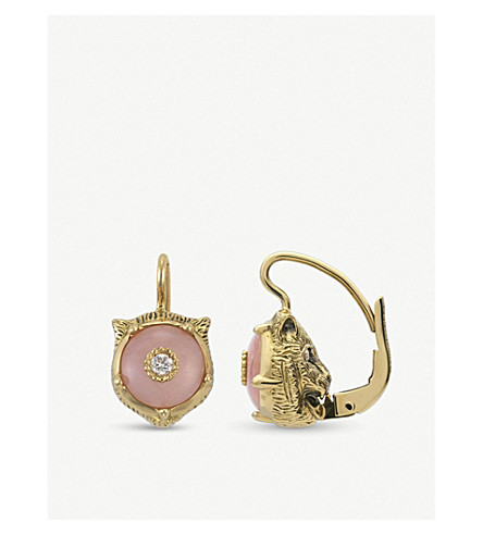 GUCCI Le Marché des Merveilles 18ct yellow-gold, pink opal and diamond earrings (Yellow+gold