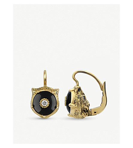 GUCCI Le Marché des Merveilles 18ct yellow-gold, black onyx and diamond earrings (Yellow+gold