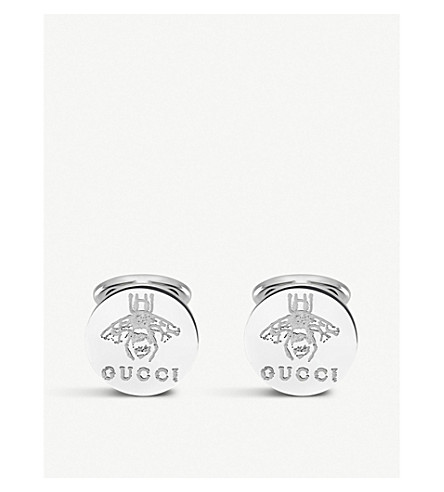 GUCCI Trademark sterling silver cufflink earrings