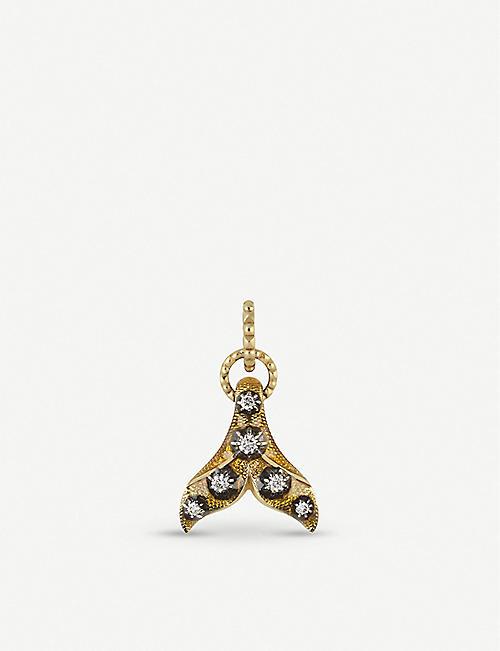 GUCCI 18ct yellow-gold, yellow enamel and diamond fin charm