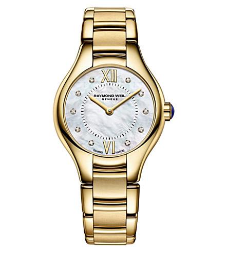 雷蒙威尔 5124-P00985 Noemia 镀金 PVD 不锈钢10钻石手表