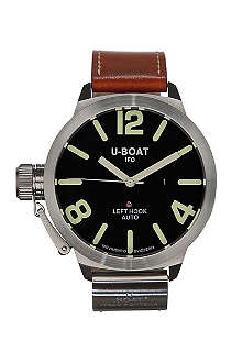 U-BOAT 5570 steel and leather unisex watch