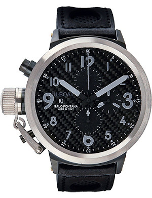 U-BOAT 6120 steel and leather chronograph watch