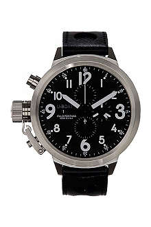 U-BOAT 6249 Flightdeck stainless steel and leather watch