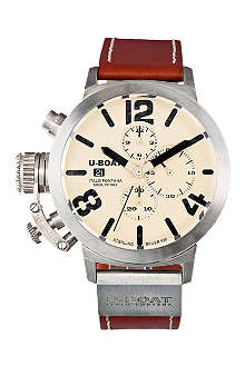 U-BOAT 6918 sterling silver and leather chronograph watch