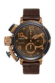 U-BOAT 6946v bronze, steel and leather chronograph watch