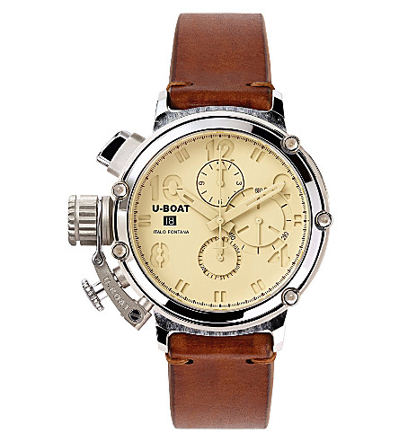 U-BOAT Silver and leather chronograph watch