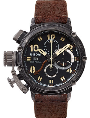 U-BOAT 7177 carbon and leather chronograph watch