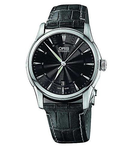 ORIS 73376704054LS Atelier stainless steel and leather watch