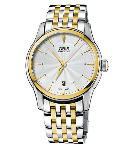 ORIS 73376704351MB Atelier silver and gold plated stainless steel watch