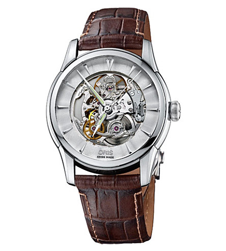 ORIS 73476704051LS Artelier Skeleton stainless steel and leather watch