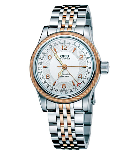 ORIS 75475434361MB Big Crown rose-gold plated and stainless steel watch