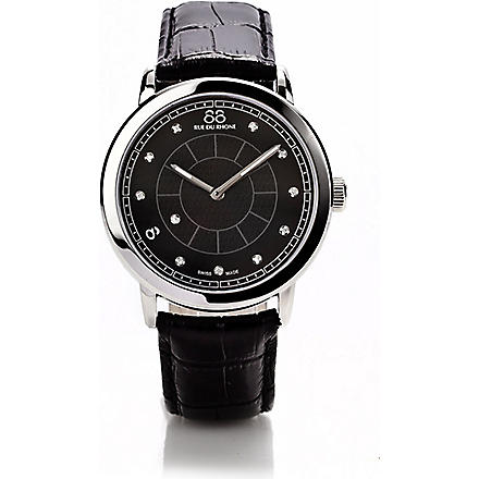 88 RUE DU RHONE 87WA120026 stainless steel and leather watch (Black