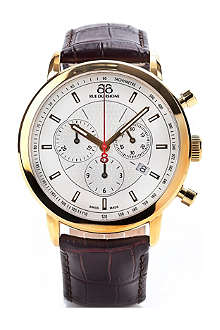 88 RUE DU RHONE 87WA120045 gold PVD and leather chronograph watch