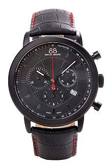 88 RUE DU RHONE 87WA120046 black PVD and leather strap