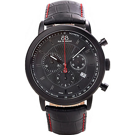 88 RUE DU RHONE 87WA120046 black PVD and leather strap (Black