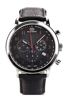88 RUE DU RHONE 87WA120047 stainless steel and leather chronograph watch